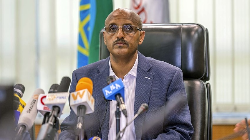 Ethiopian Airlines CEO Tewolde Gebremariam holds a press briefing at the headquarters of Ethiopian Airlines in Addis Ababa, Ethiopia. (AP Photo/Mulugeta Ayene)