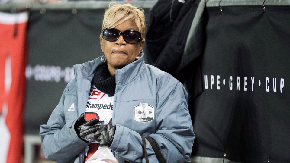 Renee Hill, mother of Mylan Hicks, looks on during first quarter CFL Grey Cup football action between the Calgary Stampeders and Ottawa Redblacks on Sunday, November 27, 2016 in Toronto. THE CANADIAN PRESS/Frank Gunn