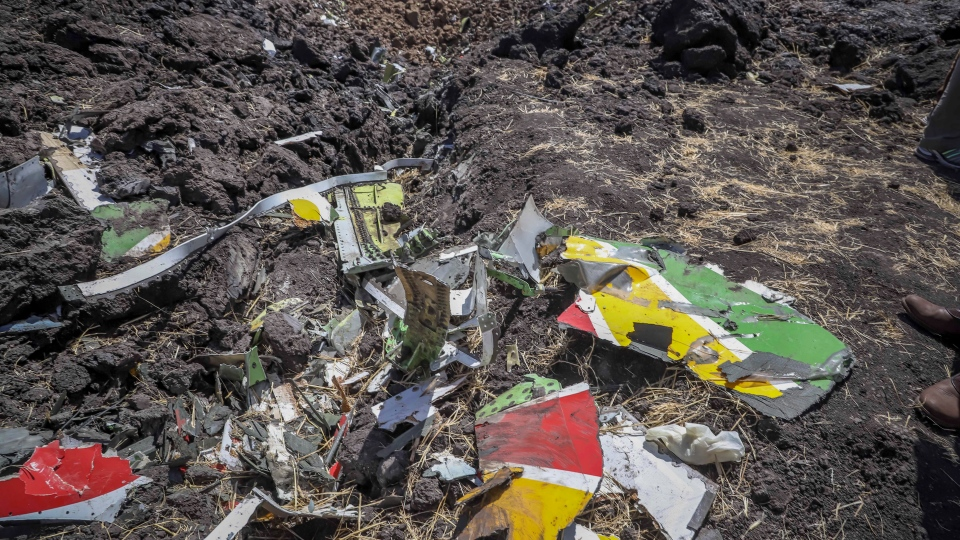 Wreckage lies at the scene of an Ethiopian Airlines flight that crashed shortly after takeoff at Hejere near Bishoftu, or Debre Zeit, some 50 kilometers (31 miles) south of Addis Ababa, in Ethiopia Sunday, March 10, 2019. (AP Photo)