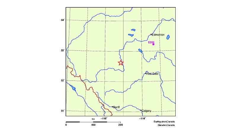 Earthquakes Canada detected a 4.3 magnitude earthquake north of Rocky Mountain House around 4 a.m. on March 10. (Earthquakes Canada)