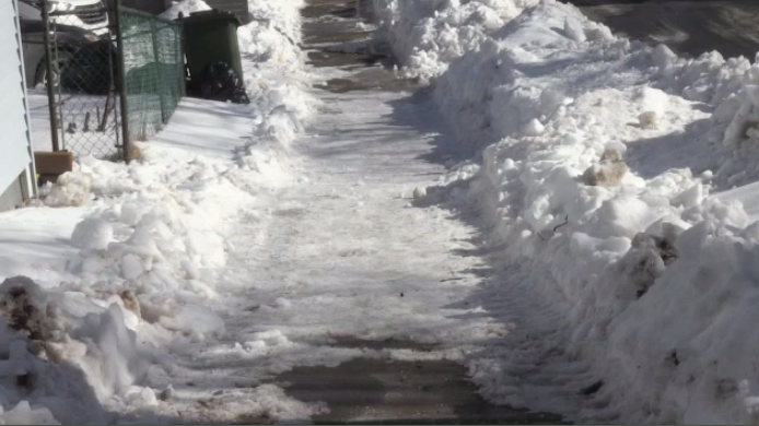 The municipality works with contractors to clear the snow, and they are supposed to have the sidewalks cleared about 48 hours after the storm.
