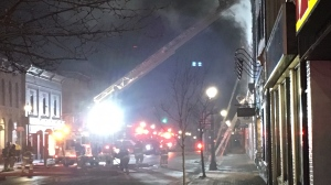 Crews battle a fire on Queen Street in downtown Kincardine, Ont. on Monday, March 11, 2019. (Source: Amanda Farrell Walsh)