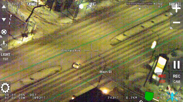 A still of footage of the incident on March 7 taken from the Air1 police helicopter. (Source: Winnipeg Police Service.)