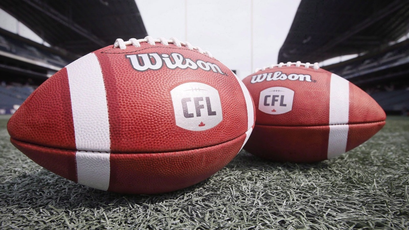 CFL balls are photographed at the Winnipeg Blue Bombers stadium in Winnipeg Thursday, May 24, 2018.  THE CANADIAN PRESS/John Woods