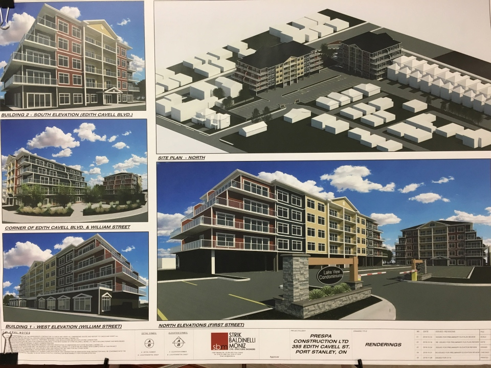 An artist's rendition shows Prespa Group's plan for a 62-unit residential development with ground-floor commercial space in Port Stanley, Ont. (Brent Lale / CTV London)