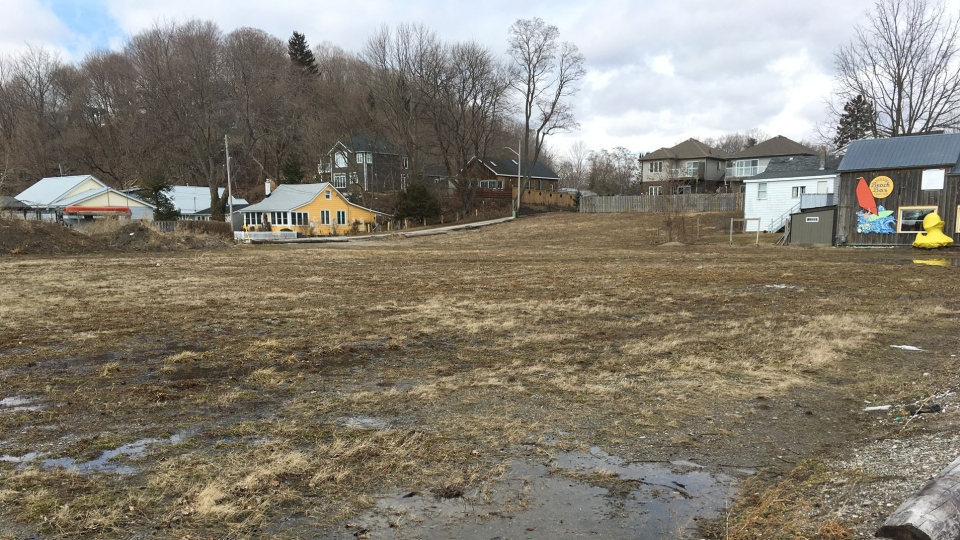 Prespa Group is planning condos on this 1.5-acre parcel of vacant land at 146-156 William Street in Port Stanley, Ont., Monday, March 11, 2019. (Brent Lale / CTV London)