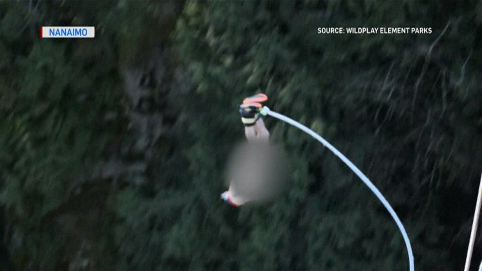 A daredevil bungee jumps in the buff to raise money for a B.C. mental health charity. March 10, 2019.
