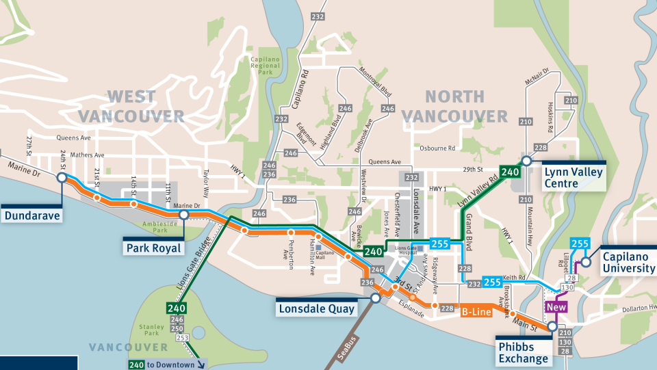 The proposed route for the B-Line from Dundarave to Phibbs Exchange (TransLink)