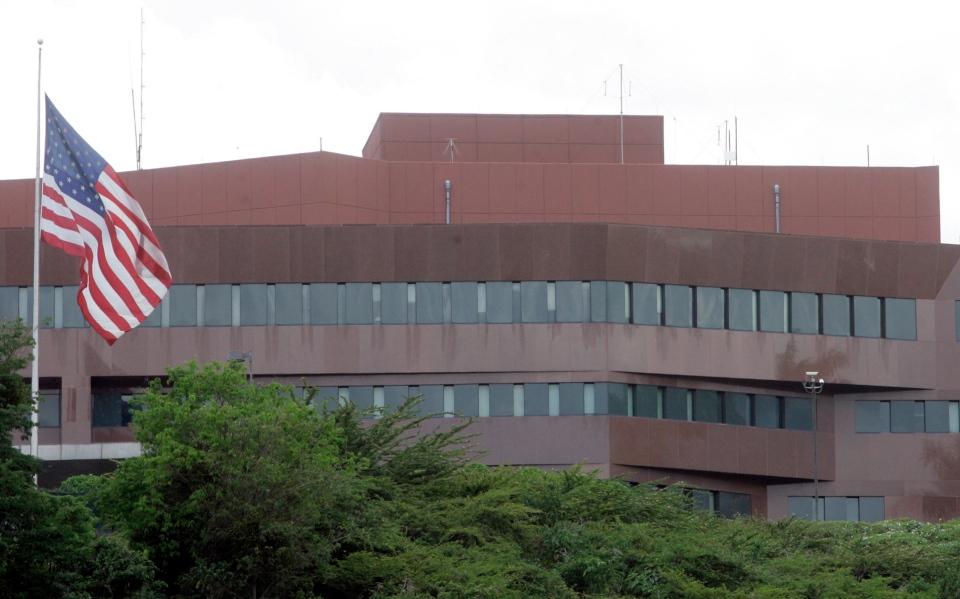 FILE - This Sept. 12, 2008 file photo, shows the U.S. embassy in Caracas, Venezuela. (AP Photo/Howard Yanes, File)