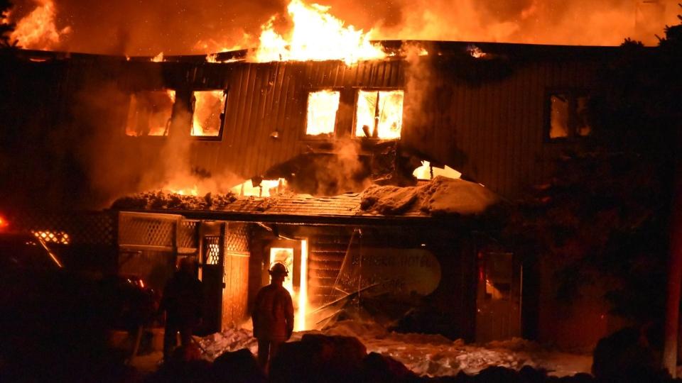 Lemberg Hotel on fire. Courtesy: Christina Chick