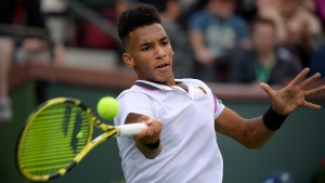 Felix Auger-Aliassime will open his first Rogers Cup in his hometown when he faces fellow Canadian Vasek Pospisil in a Wimbledon rematch. (File/AP Photo/Mark J. Terrill)