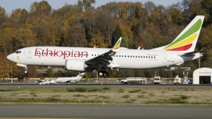 The actual Ethiopian Airlines Boeing 737 Max 8 plane that crashed on March 10, 2019 is seen  shortly after take-off from Addis Ababa, Ethiopia, on November 12, 2018. (Preston Fiedler / AP)