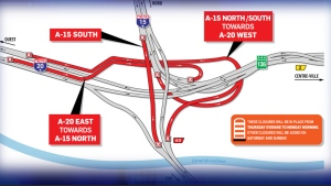 In an unusual step, multiple ramps in the Turcot Interchange will close as of 10 p.m. Thursday March 14, 2019