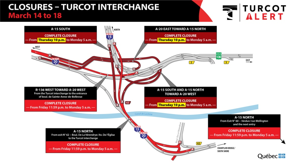 Even more Turcot ramps will be closed as of midnight Friday. Everything reopens at 5 a.m. Monday March 18