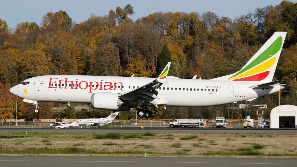 In this photo dated November 12, 2018, the actual Ethiopian Airlines Boeing 737 - Max 8 plane, that crashed Sunday March 10, 2019, shortly after take-off from Addis Ababa, Ethiopia, shown as it lands at Seattle Boeing Field King County International airport, USA. (AP Photo/Preston Fiedler)