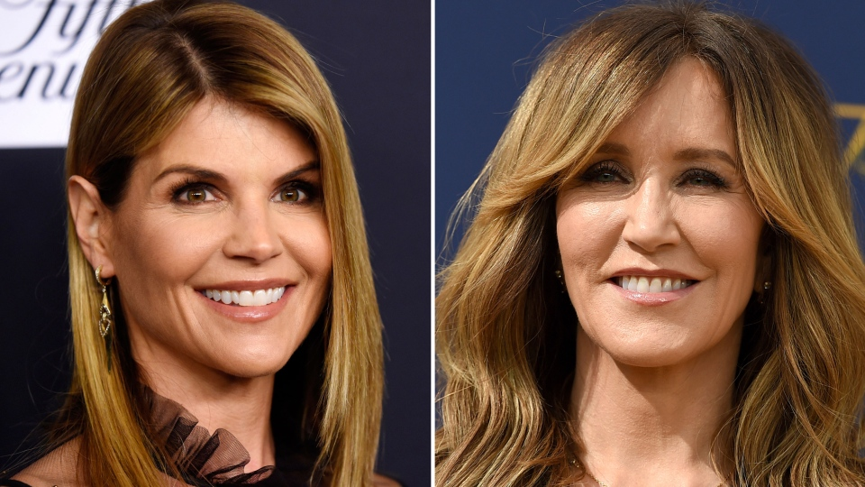 This combination photo shows actress Lori Loughlin at the Women's Cancer Research Fund's An Unforgettable Evening event in Beverly Hills, Calif., on Feb. 27, 2018, left, and actress Felicity Huffman at the 70th Primetime Emmy Awards in Los Angeles on Sept. 17, 2018. (AP Photo)