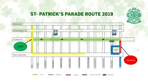 The 2019 St. Patrick's Day parade begins on Fort St. and runs along Ste. Catherine St. to Place du Canada