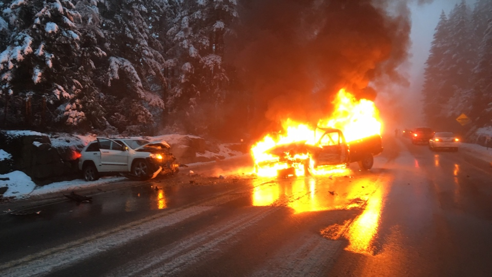 A vehicle burst into flames on the stretch of Highway 4 known as 'The Hump' Tuesday, March 12, 2019. (BC Hydro)