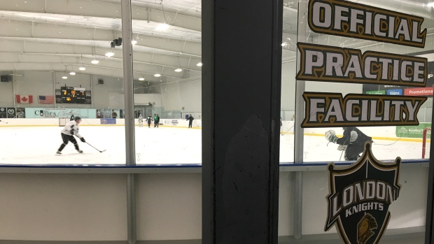 The London Knights practice at Western Fair in London, Ont. on Tuesday, March 12, 2019. (Brent Lale / CTV London)