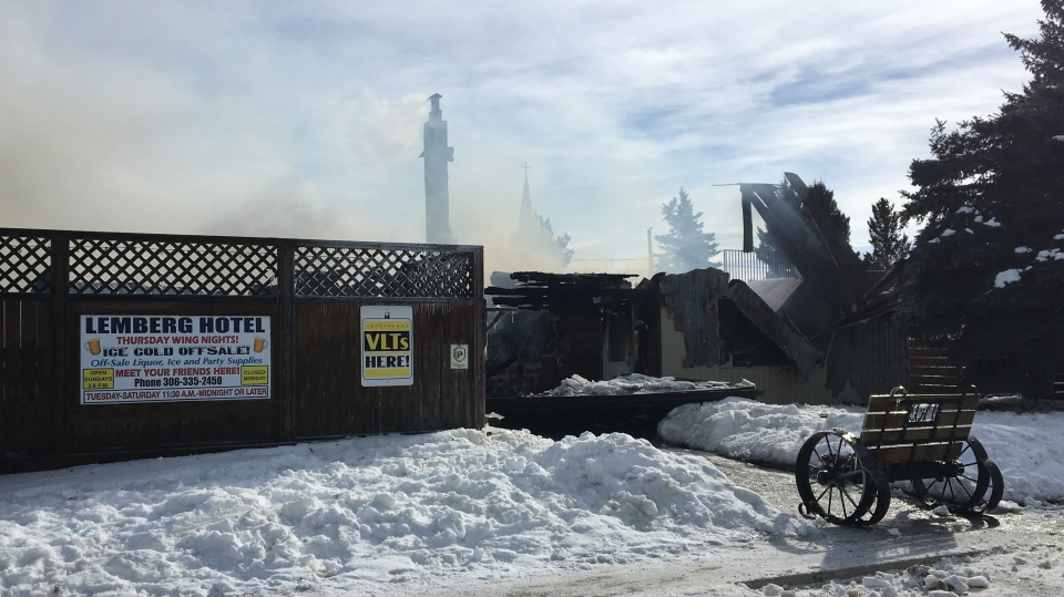 The remains of the Lemberg Hotel and Cafe after a fire tore through the building Monday night. (Nathaniel Dove/CTV Yorkton)
