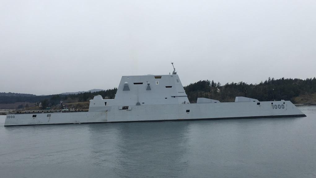 USS Zumwalt departs Esquimalt Harbour