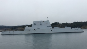 The USS Zumwalt, the U.S. Navy's largest and most advanced destroyer, visits Victoria on March 11, 2019. (CTV Vancouver Island)
