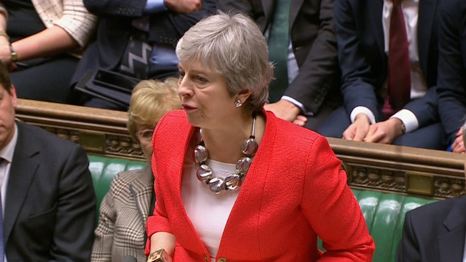 British Prime Minister Theresa May speaks in Parliament, Tuesday, March 12, 2019.