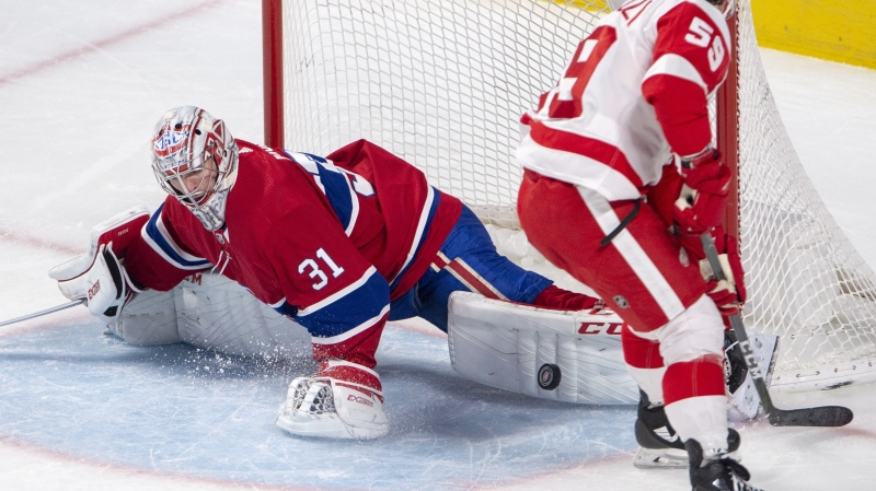 Montreal Canadiens goaltender Carey Price (31) stops Detroit Red Wings left wing Tyler Bertuzzi (59) on a breakaway during third period NHL hockey action Tuesday, March 12, 2019 in Montreal. THE CANADIAN PRESS/Ryan Remiorz