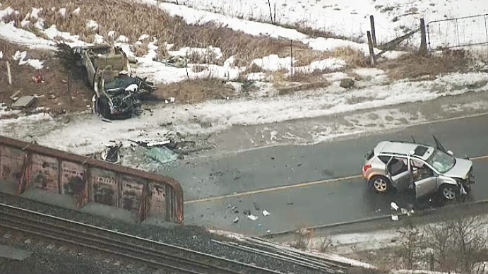 Toronto police at the scene of a serious multi-vehicle crash on Mach 13, 2019.