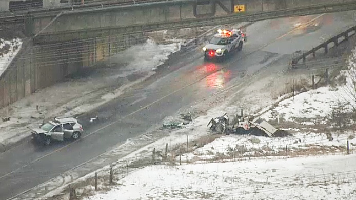 Toronto police on the scene of a crash on Sewells Road and Steeles Avenue on March 13, 2019.