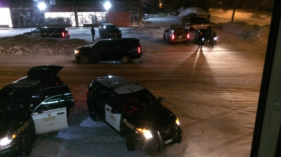 Police vehicles surround the site of an alleged robbery in Orillia, Ont. on Monday, March 11, 2019 (Courtesy: Timothy Windsor)