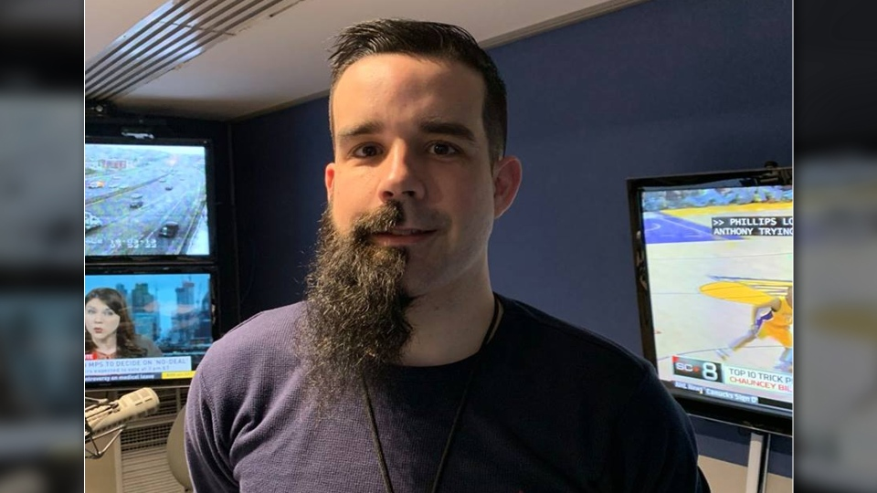 CFRA producer Matt Harris needs another $8,000 raised before he can shave the rest of his beard.