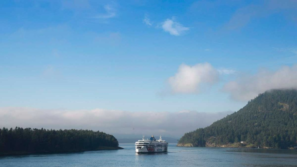 A BC Ferries ferry is pictured travelling between Mayne and Galiano Islands in the Strait of Georgia, B.C. Tuesday, Jan. 13, 2015. (Jonathan Hayward / THE CANADIAN PRESS)