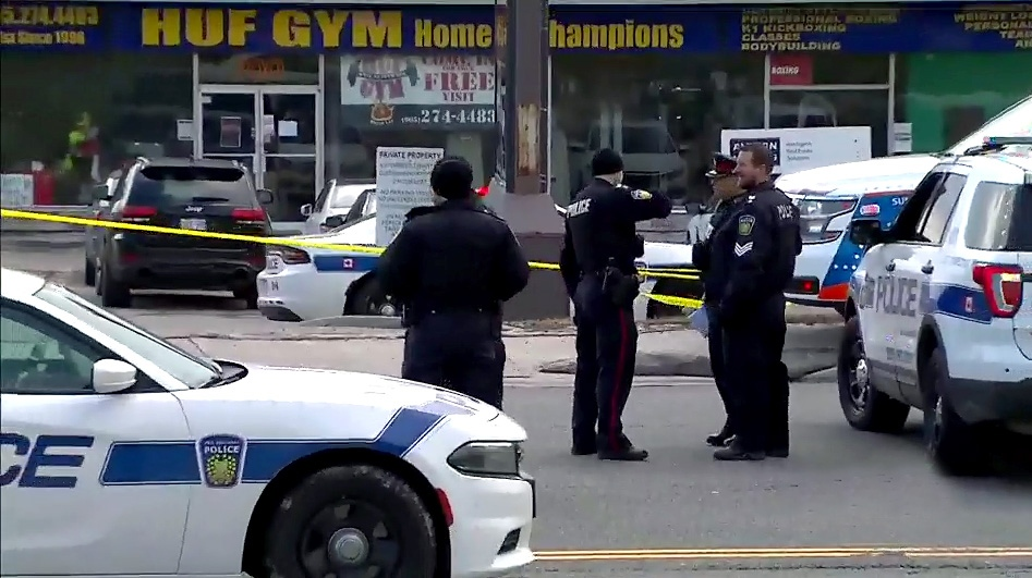 Police at the scene of a daytime murder at a plaza in Mississauga on March 11, 2019.