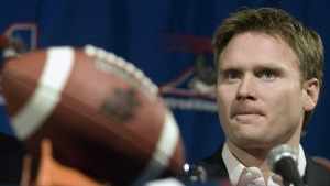 Montreal Alouettes running back Eric Lapointe announces his retirement at a news conference in Montreal Friday, Feb. 16, 2007. The Montreal Alouettes were offering no comment Wednesday regarding reports the CFL franchise is close to being sold. THE CANADIAN PRESS/ Ryan Remiorz