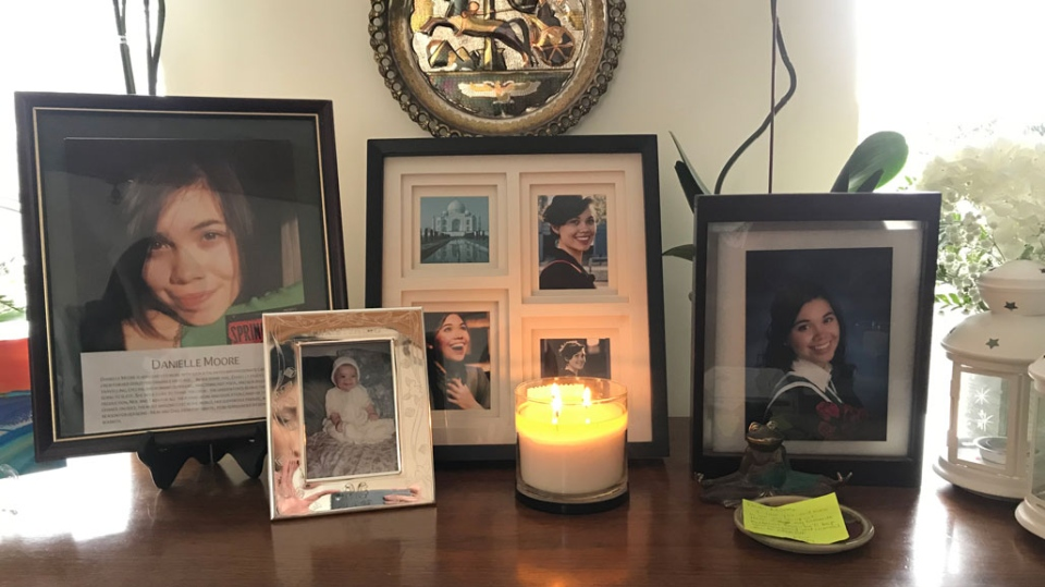 Danielle Moore's family displays a number of photographs inside their home. (CTV News Toronto/Tracy Tong)