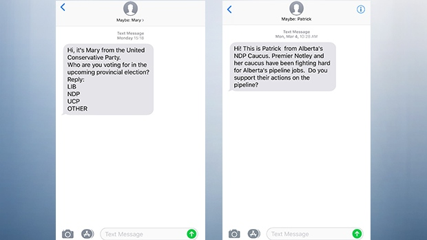 Albertans annoyed with unsolicited texts from NDP, UCP | CTV