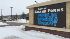 Grand Forks public works sign