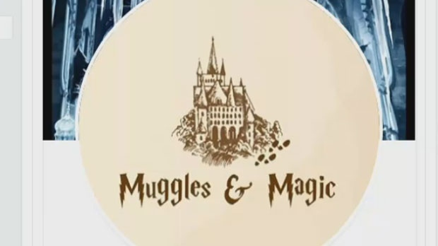 """The logo for """"Muggles and Magic"""" is seen in this photograph."""
