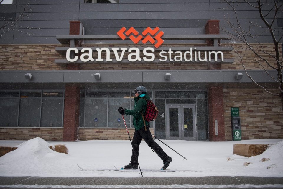 A cross country skier travels in the snow on Wednesday, March 13, 2019, in Fort Collins, Colo. A winter storm hit the western U.S., with blizzard conditions expected to engulf parts of Colorado, Wyoming, Montana, Nebraska and South Dakota. (Timothy Hurst/The Coloradoan via AP)