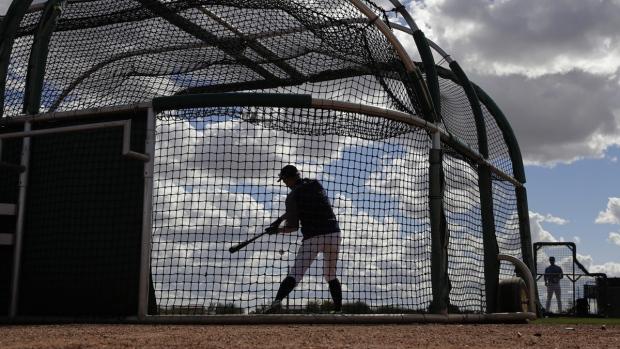 Ichiro Suzuki bats during baseball spring training