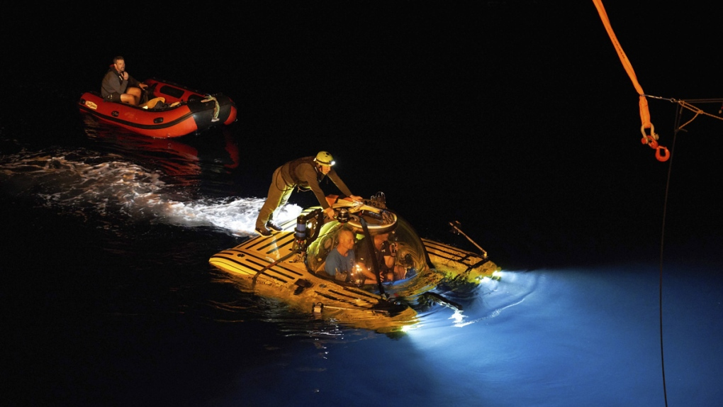 A manned submersible surfaces