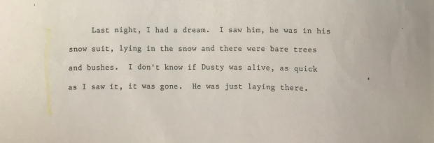 Excerpt from Bowers' statement describing dream