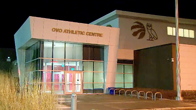 The new OVO Athletic Centre in Toronto. The facility is used for practices and training by the Toronto Raptors. It was renamed after Toronto rapper Drake, who is the team's ambassador.