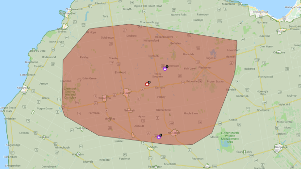 A map showing a power outage in Ontario
