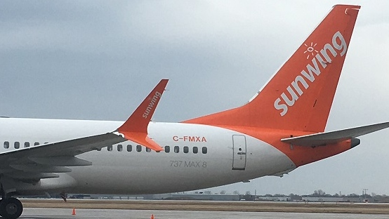 A Sunwing branded Boeing 737 MAX 8 plane parked at the Windsor International Airport on March 14, 2019. (Bob Bellacicco / CTV Windsor)