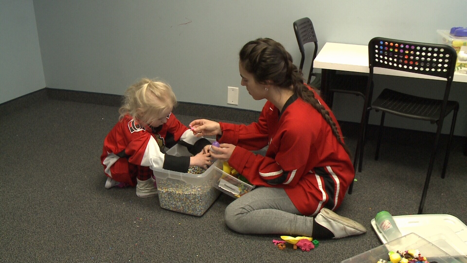 Miranda is one of 17 therapists on staff at ABA Connections on Colonnade Road in Ottawa's south end, working one on one with 4-year-old Amara, who, up until a few months ago, couldn't talk.