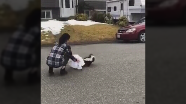 Mission woman frees stuck skunk