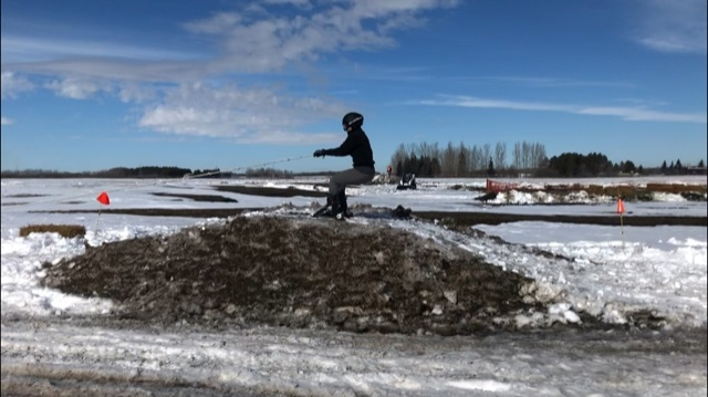 Shannon Christensen practicing skijoring at Grasswood Horse Park. Francois Biber/CTV News