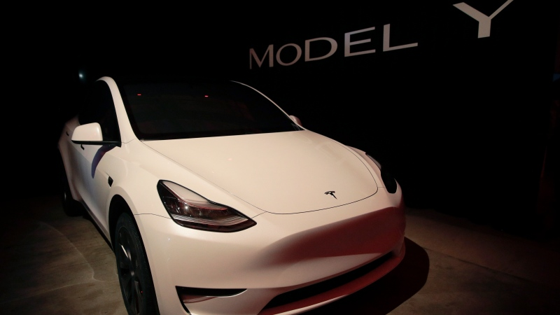 Tesla's Model Y is displayed at Tesla's design studio Thursday, March 14, 2019, in Hawthorne, Calif. (Jae C. Hong / AP)